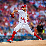 7 October 2017: Washington Nationals starting pitcher Gio Gonzalez on the mound to open the second game of the NLDS against the Chicago Cubs at Nationals Park in Washington, DC. The Nationals rallied to defeat the Cubs 6-3 and even their best of five Postseason series at one game apiece. Mandatory Credit: Ed Wolfstein Photo *** RAW (NEF) Image File Available ***