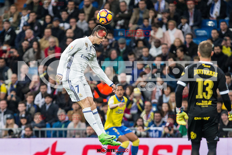 Cristiano Ronaldo of Real Madrid in action  during the match of Spanish La Liga between Real Madrid and UD Las Palmas at  Santiago Bernabeu Stadium in Madrid, Spain. March 01, 2017. (ALTERPHOTOS / Rodrigo Jimenez) /NortePhoto.com