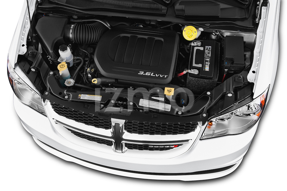 Car Stock 2017 Dodge Grand-Caravan SXT 5 Door Minivan Engine  high angle detail view