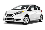 Stock pictures of low aggressive front three quarter view of a 2018 Nissan Versa Note S 5 Door Hatchback