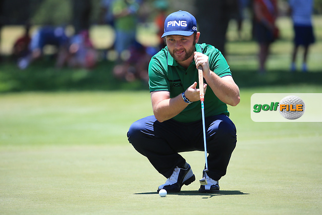 Defending Champion Andy Sullivan(ENG) putting on the last hole (9th) during Round Two of the 2016 BMW SA Open hosted by City of Ekurhuleni, played at the Glendower Golf Club, Gauteng, Johannesburg, South Africa.  08/01/2016. Picture: Golffile | David Lloyd<br /> <br /> All photos usage must carry mandatory copyright credit (&copy; Golffile | David Lloyd)