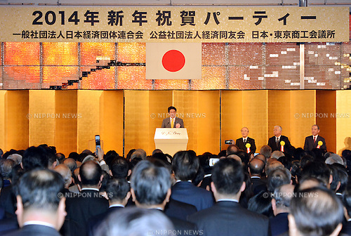 anuary 7, 2014, Tokyo, Japan - Prime Minister Shinzo Abe delivers his speech during a new year party co-hosted by Japan's three major business organization at a Tokyo hotel on Tuesday, January 7, 2014. Seated at right are, from left: Chairman Akio Mimura of the Japanese Chamber of Commerce and Industry; Chairman Hiromasa Yonekura of Japan Business Federation and Chairman Yasuchika Hasegawa of Japan Association of Corporate Executives.  (Photo by Natsuki Sakai/AFLO)