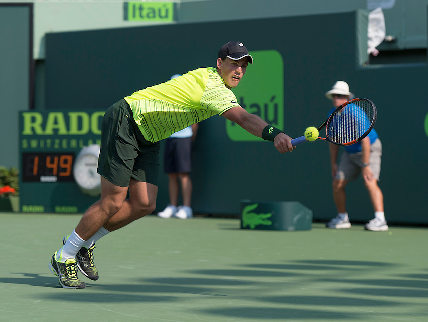 Key Biscayne, FL - March 26: Vasek Pospisil(CAN) defeats Juan Martin Del Potro(ARG) to move into the 2nd round of the 2015 Miami Open in Key Biscayne, Florida. Photographer Andrew Patron - CameraSport/BigShots<br /> <br /> Tennis - 2015 Miami Open presented by Itau - Crandon Park Tennis Center - Key Biscayne, Florida - USA - Day 4, Thursday 26th March 2015<br /> <br /> &copy; CameraSport - 43 Linden Ave. Countesthorpe. Leicester. England. LE8 5PG - Tel: +44 (0) 116 277 4147 - admin@camerasport.com - www.camerasport.com