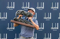 David Lipsky (USA) lifts the trophy after the final round of the Alfred Dunhill Championship, Leopard Creek Golf Club, Malelane, South Africa. 16/12/2018<br /> Picture: Golffile | Tyrone Winfield<br /> <br /> <br /> All photo usage must carry mandatory copyright credit (© Golffile | Tyrone Winfield)