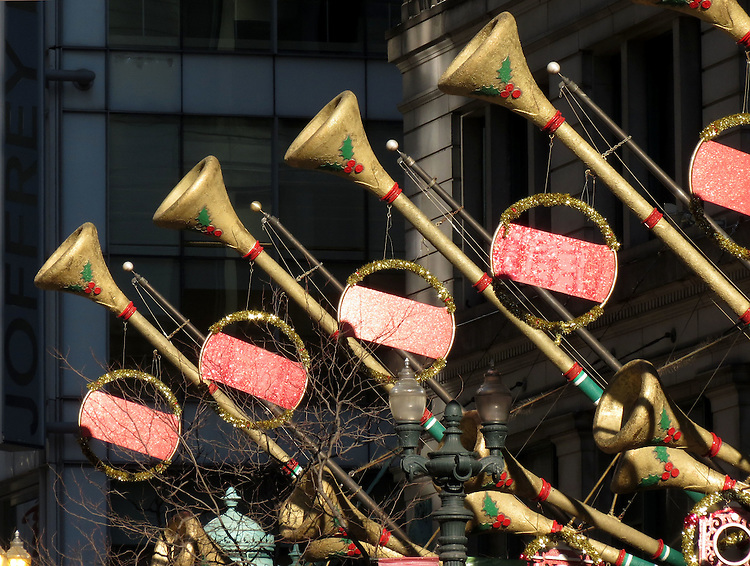 Christmas decorations hang above State Street from the Macy's department store in Chicago Saturday, Nov. 14, 2015. (DePaul University/Jamie Moncrief)