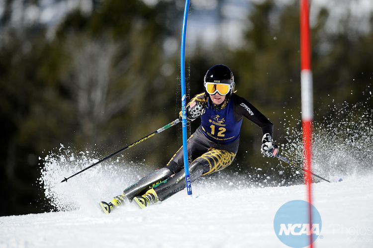 10 MAR 2012: Erika Ghent during the Women's Alpine Slalom event at the NCAA Division I Men and Women's Ski Championship held at Bridger Bowl hosted by Montana State University in Bozeman, MT. Ghent placed 3rd in the event. Brett Wilhelm/NCAA Photos.