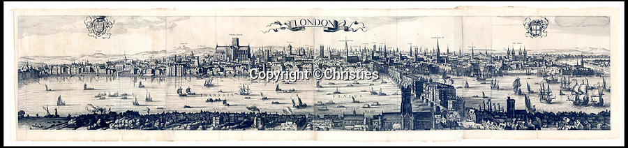 BNPS.co.uk (01202 558833)<br /> Pic: Christies/BNPS<br /> <br /> A remarkable 393 year old panorama of London which reveals how the city looked before the great fire destroyed large parts of it has sold at auction for £106,000.<br /> <br /> The 7ft panorama, taken from the South Bank, has the old St Paul's Cathedral and London Bridge, which were rebuilt following the blaze, as central features.<br /> <br /> Remarkably, its creator, the Dutch engraver and cartographer Claes Jansz Visscher, never visited London, so the panorama required some imagination - the Tower of London boasts onion-styled domes.<br /> <br /> It is one of only two known copies to exist, with the other one residing in the Folger Library in Washington DC, United States.
