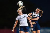 Seattle Reign FC midfielder Kaylyn Kyle (6) goes up for a header with Sky Blue FC midfielder Katy Freels (Frierson) (17). Sky Blue FC defeated the Seattle Reign FC 2-0 during a National Women's Soccer League (NWSL) match at Yurcak Field in Piscataway, NJ, on May 11, 2013.
