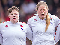 England Women's Hannah Botterman and England Women's Poppy Cleall sing the anthem<br /> <br /> Photographer Bob Bradford/CameraSport<br /> <br /> 2020 Women's Six Nations Championship - England v Wales - Saturday 7th March 2020 - The Stoop - London<br /> <br /> World Copyright © 2020 CameraSport. All rights reserved. 43 Linden Ave. Countesthorpe. Leicester. England. LE8 5PG - Tel: +44 (0) 116 277 4147 - admin@camerasport.com - www.camerasport.com