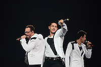 Donnie Wahlberg, Jonathan Knight, and Joey McIntyre of The New Kids on The Block perform at BB&T Center during The Package Tour 2013, Sunrise, Florida, June 22, 2013
