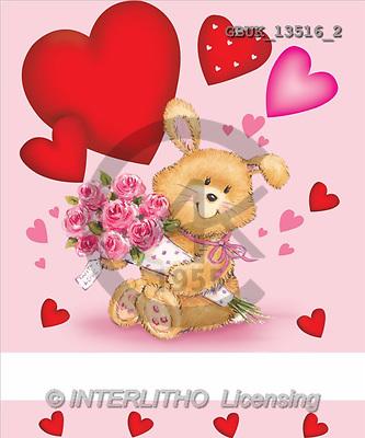 Stephen, VALENTINE, paintings, rabbit, roses, heart(GBUK13516/2,#V#) illustrations, pinturas ,everyday