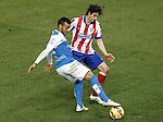 Atletico de Madrid's Tiago Mendes (r) and UD Almeria's Michel Macedo during La Liga match.February 21,2015. (ALTERPHOTOS/Acero)