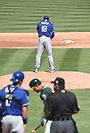Kenta Maeda (Dodgers),<br /> MARCH 10, 2016 - MLB :<br /> Pitcher Kenta Maeda of the Los Angeles Dodgers prays on the mound before delivering the first pitch in the first inning during a spring training baseball game against the Oakland Athletics at Hohokam Stadium in Mesa, Arizona, United States. (Photo by AFLO)