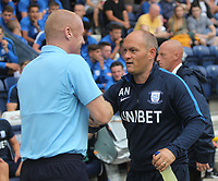 Preston North End's Manager Alex Neil greets Burnley's Manager Sean Dyche <br /> <br /> Photographer Mick Walker/CameraSport<br /> <br /> Football Pre-Season Friendly - Preston North End  v Burnley FC  - Monday 23st July 2018 - Deepdale  - Preston<br /> <br /> World Copyright &copy; 2018 CameraSport. All rights reserved. 43 Linden Ave. Countesthorpe. Leicester. England. LE8 5PG - Tel: +44 (0) 116 277 4147 - admin@camerasport.com - www.camerasport.com