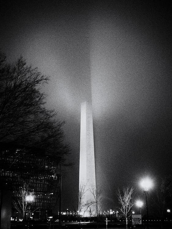 The Washington Monument shrouded in fog, Washington DC 26 March 2017