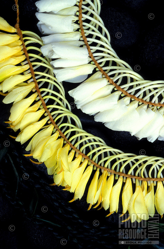 White and yellow ginger leis woven with rafia, Micronesian-style, with a background of black stones accented with ti leaf leis