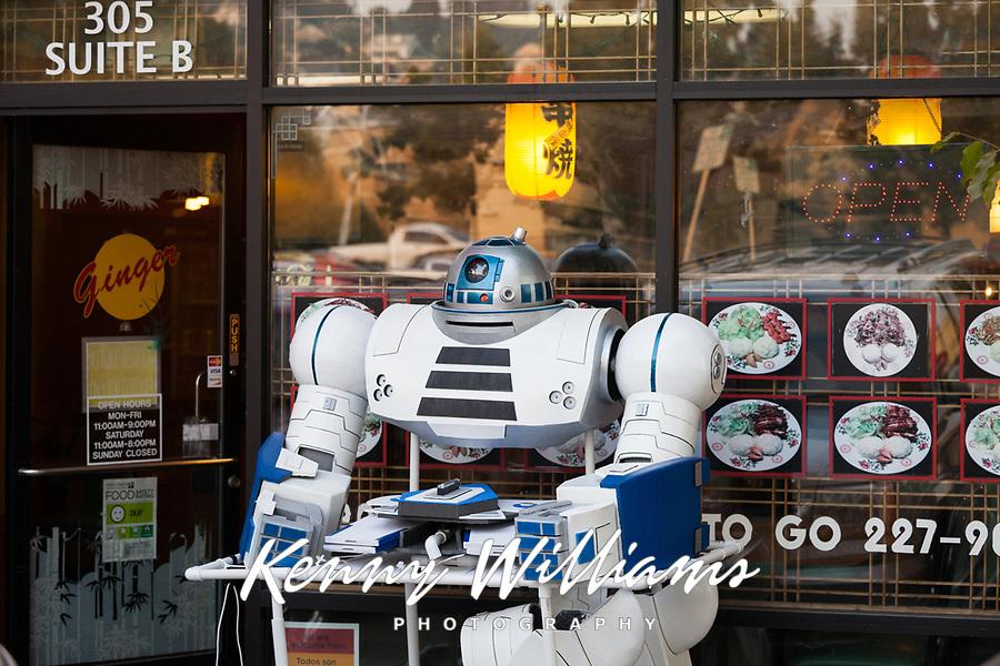 White Robot in Front of Asian Restaurant, Renton, Washington, USA.