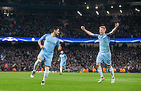 Ilkay Gundogan of Manchester City turns to celebrate his second goal with Kevin De Bruyne (right) of Manchester City during the UEFA Champions League match between Manchester City and Barcelona at the Etihad Stadium, Manchester, England on 1 November 2016. Photo by Andy Rowland / PRiME Media Images.