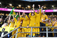 Wallaby fans simply revelling in the win after Match 26 of the Rugby World Cup 2015 between England and Australia - 03/10/2015 - Twickenham Stadium, London<br /> Mandatory Credit: Rob Munro/Stewart Communications