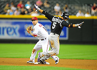 May 3, 2011; Phoenix, AZ, USA; Arizona Diamondbacks second baseman Ryan Roberts forces out Colorado Rockies base runner Carlos Gonzalez in the sixth inning at Chase Field. Mandatory Credit: Mark J. Rebilas-