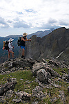 backpackers, Flattop Mountain, overlooking Tyndall Gorge, Rocky Mountain National Park, Colorado, USA