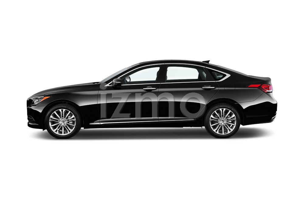 Car Driver side profile view of a 2017 Genesis G80 3.8-AWD 4 Door Sedan Side View
