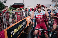 Alex Dowsett (GBR/Katusha-Alpecin) after finishing in the rain<br /> <br /> stage 17: Riva del Garda - Iseo (155 km)<br /> 101th Giro d'Italia 2018