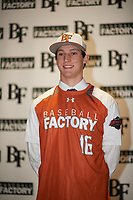 Ryan Thompson (16) of Legacy Christian Academy in Frisco, Texas during the Baseball Factory All-America Pre-Season Tournament, powered by Under Armour, on January 12, 2018 at Sloan Park Complex in Mesa, Arizona.  (Zachary Lucy/Four Seam Images)