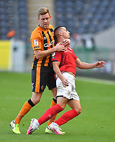 Hull City's Callum Elder gets to grips with Crew Alexandra's Owen Dale<br /> <br /> Photographer Dave Howarth/CameraSport<br /> <br /> The EFL Sky Bet League One - Hull City v Crewe Alexandra - Saturday 19th September 2020 - KCOM Stadium - Kingston upon Hull<br /> <br /> World Copyright © 2020 CameraSport. All rights reserved. 43 Linden Ave. Countesthorpe. Leicester. England. LE8 5PG - Tel: +44 (0) 116 277 4147 - admin@camerasport.com - www.camerasport.com