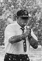 OSU-Michigan State game on Saturday, November 4, 1967. The Buckeyes won that game in an upset 21-7 victory at East Lansing. OSU football coach Woody Hayes with shirtsleeves in the snow. (Photo by Charlie Hays of The Dispatch)