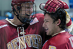 February 6, 2010:  Denver's  Brandon Vossbert (left) and Kyle Ostrow (right) celebrate following a heated match-up between #2 Denver University and Air Force at Cadet Ice Arena, U.S. Air Force Academy, Colorado Springs, Colorado.  #2 Denver defeats Air Force 2-1 in OT.