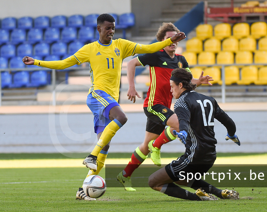 20170323 - BEVEREN , BELGIUM : Swedish Aleksander Isac (L) with Belgian Mile Svilar (R) and Wout Faes (M) pictured during the UEFA Under 19 Elite round game between Sweden U19 and Belgium U19, on the first matchday in group 7 of the Uefa Under 19 elite round in Belgium , thursday 23 th March 2017 . PHOTO SPORTPIX.BE | DIRK VUYLSTEKE