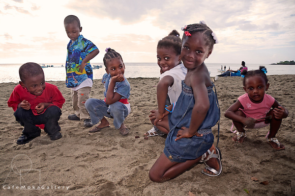 Children from the Family First Foundation, Children's home Tobago playing on the beach at the Black Rock Sea festival, Courland Bay, Tobago