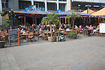 People at outdoor cafe restaurant Stadhuisplein Rotterdam Netherlands