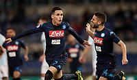Calcio, Serie A: Roma, stadio Olimpico, 20 settembre 2017.<br /> Napoli's Jos&eacute; Maria Callejon (l) celebrates after scoring  with his teammate Dries Mertens (r) during the Italian Serie A football match between Lazio and Napoli at Rome's Olympic stadium, September 20, 2017.<br /> UPDATE IMAGES PRESS/Isabella Bonotto