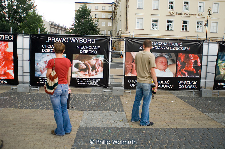 Anti-abortion posters displayed outside a Catholic church in a central square in the Polish city of Lublin.