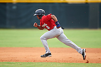 Brevard County Manatees center fielder Corey Ray (2) running the bases during a game against the Lakeland Flying Tigers on August 8, 2016 at Henley Field in Lakeland, Florida.  Lakeland defeated Brevard County 6-2.  (Mike Janes/Four Seam Images)