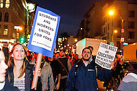 Thousands of protesters march from Union Square to Foley Square as part of a day of protests celebrating the two month anniversary of the Occupy Wall Street movement, on November 17, 2011 in New York City.  Although the police tried to block the protesters unpermitted march, the protesters successfully split up to rejoin at Foley Square.  The largest contingent of protesters completely stalled 6th Avenue as they walked in the street against traffic.
