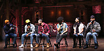 "Terrance Spencer, Deon'te Goodman, Giuseppe Bausilio, Raven Thomas, Lauren Boyd and Nicholas Christopher during the eduHAM Q & A before The Rockefeller Foundation and The Gilder Lehrman Institute of American History sponsored High School student #EduHam matinee performance of ""Hamilton"" at the Richard Rodgers Theatre on December 11, 2019 in New York City."