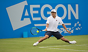 June 10th 2017,  Nottingham, England; ATP Aegon Nottingham Open Tennis Tournament day 1; Mackenzie McDonald of USA reaches for a low forehand return in his match against James Ward of Great Britain