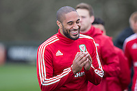 Team captain Ashley Williams enjoys a joke during Wales national team training ahead of the International Friendly match and Euro 2016 warm up match against Northern Ireland at Vale Resort, Hensol, Wales on 22 March 2016. Photo by Mark  Hawkins / PRiME Media Images.