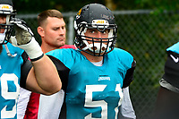 August 8, 2017: Jacksonville Jaguars middle linebacker Paul Posluszny (51) makes his way to the practice field at the New England Patriots training camp held at Gillette Stadium, in Foxborough, Massachusetts.  The Patriots are hosting the Jaguars at camp leading up to their preseason game. Eric Canha/CSM