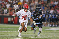 College Park, MD - April 29, 2017: Maryland Terrapins Isaiah Davis-Allen (26) is being defended by Johns Hopkins Blue Jays Daniel Jones (23) during game between John Hopkins and Maryland at  Capital One Field at Maryland Stadium in College Park, MD.  (Photo by Elliott Brown/Media Images International)