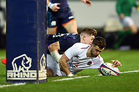 Tom de Glanville of England U20 scores his side's first try. U20 Six Nations match, between England U20 and Scotland U20 on March 15, 2019 at Franklin's Gardens in Northampton, England. Photo by: Patrick Khachfe / JMP