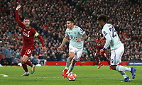 Bayern Munich's James Rodriguez Liverpool's gets away from a protesting Jordan Henderson<br /> <br /> Photographer Rich Linley/CameraSport<br /> <br /> UEFA Champions League Round of 16 First Leg - Liverpool and Bayern Munich - Tuesday 19th February 2019 - Anfield - Liverpool<br />  <br /> World Copyright © 2018 CameraSport. All rights reserved. 43 Linden Ave. Countesthorpe. Leicester. England. LE8 5PG - Tel: +44 (0) 116 277 4147 - admin@camerasport.com - www.camerasport.com