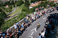 up the steepest section towards the Citt&agrave; Alta in Bergamo<br /> <br /> Stage 15: Valdengo &rsaquo; Bergamo (199km)<br /> 100th Giro d'Italia 2017