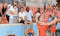 Houston, TX - Saturday May 27, 2017: Cami Privett takes a group selfie with Houston Dash fans after a regular season National Women's Soccer League (NWSL) match between the Houston Dash and the Seattle Reign FC at BBVA Compass Stadium.