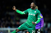 Sheffield Wednesday's Dominic Iorfa celebrates at the end of the game<br /> <br /> Photographer Chris Vaughan/CameraSport<br /> <br /> The EFL Sky Bet Championship - Leeds United v Sheffield Wednesday - Saturday 11th January 2020 - Elland Road - Leeds<br /> <br /> World Copyright © 2020 CameraSport. All rights reserved. 43 Linden Ave. Countesthorpe. Leicester. England. LE8 5PG - Tel: +44 (0) 116 277 4147 - admin@camerasport.com - www.camerasport.com