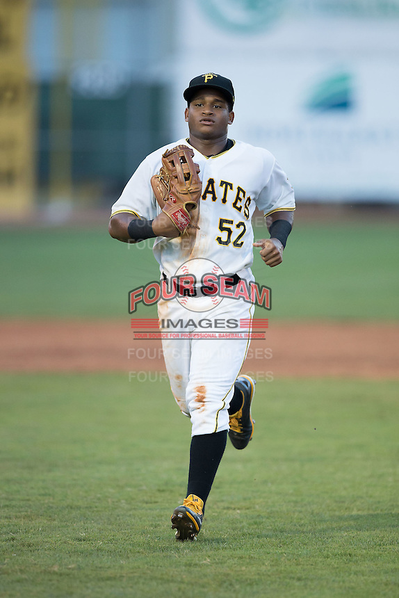 Bristol Pirates left fielder Henrry Rosario (52) jogs off the field between innings of the game against the Burlington Royals at Boyce Cox Field on July 10, 2015 in Bristol, Virginia.  The Pirates defeated the Royals 9-4. (Brian Westerholt/Four Seam Images)