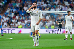 Real Madrid Dani Carvajal celebrating a goal during La Liga match between Real Madrid and Getafe CF at Santiago Bernabeu in Madrid, Spain. August 19, 2018. (ALTERPHOTOS/Borja B.Hojas)